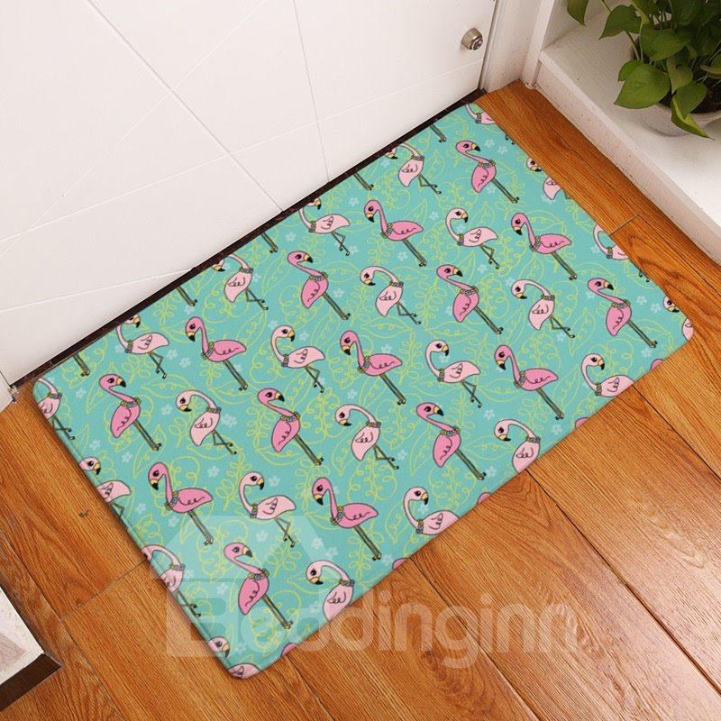 Cartoon Flamingos Printed Flannel Green Bath Rug/Mat
