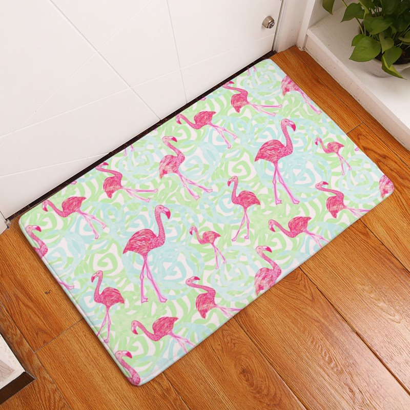 Flamingos and Flowers Printed Flannel Bath Rug/Mat