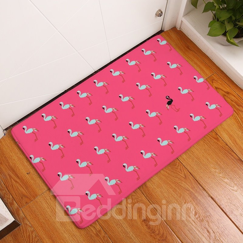 White Flamingos Printed Flannel Rose Red Bath Rug/Mat