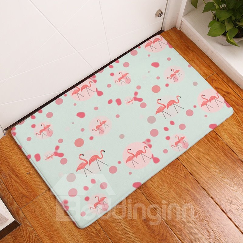 Pink Flamingos and Bubbles Printed Flannel Light Blue Bath Rug/Mat