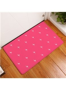 White Flamingos Printed Flannel Pink Bath Rug/Mat