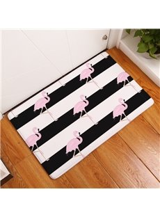 Pink Flamingos and Stripes Printed Flannel Bath Rug/Mat