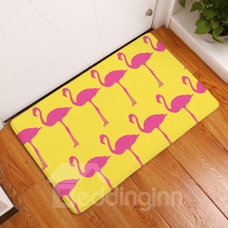 Pink Flamingos Printed Flannel Yellow Bath Rug/Mat