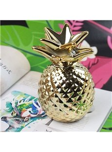 Pineapple Shape Ceramic Golden/White Saving Pot