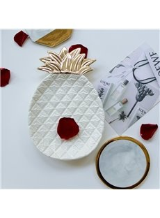 Pineapple Shape Ceramic Golden/White Desktop Decoration