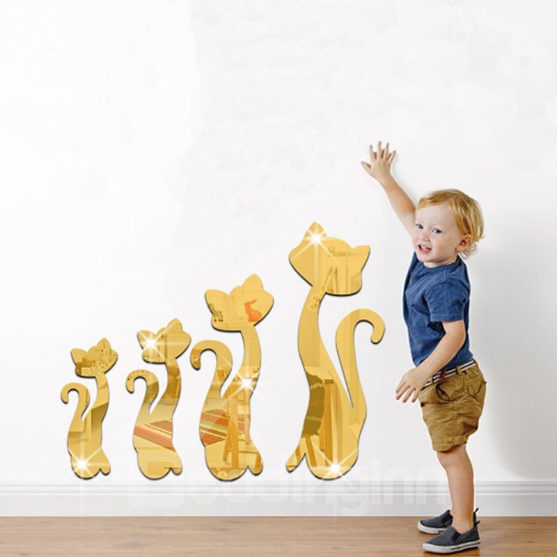 Silver/Golden Four Cats Acrylic Mirror Waterproof and Eco-friendly 3D Wall Stickers