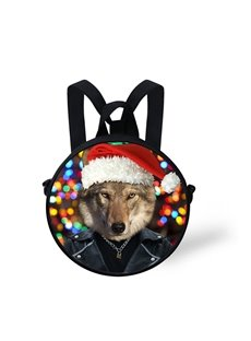3D Mr. Bravery Dog Wearing Christmas Hat Pattern Polyester Outdoor Backpack