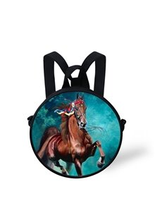 3D Magnificient Running Horse Pattern Polyester Outdoor Backpack