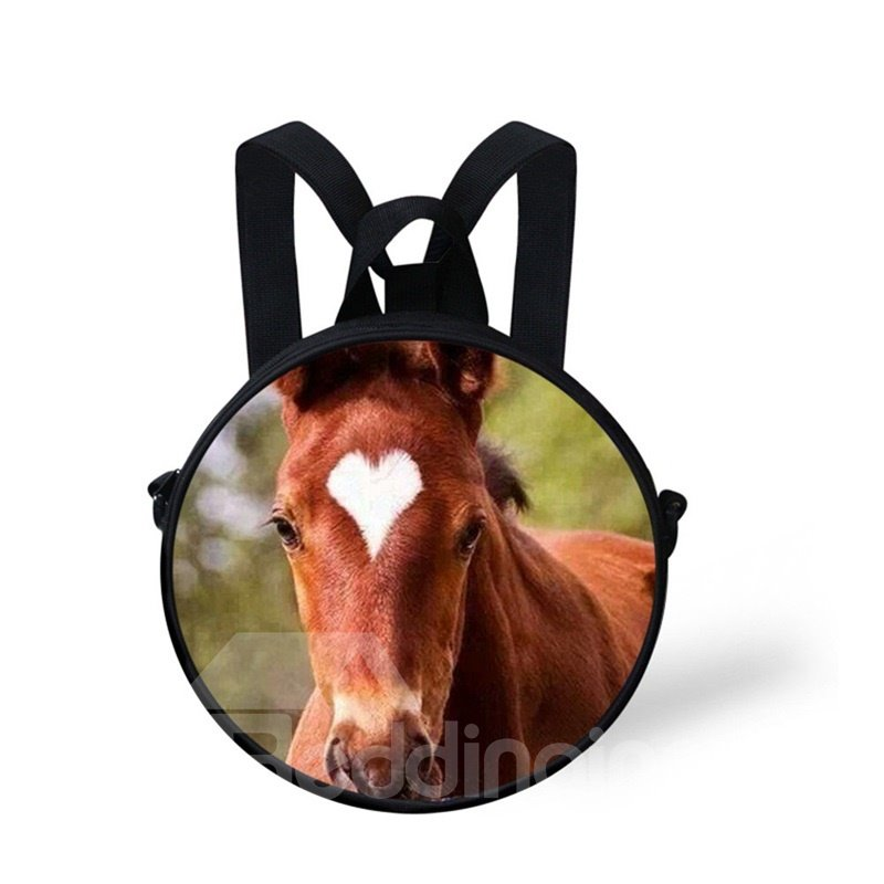 Round 3D Heart Horse Pattern School Bag Shoulders Backpack