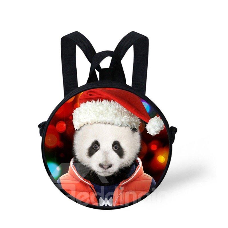Round 3D Panda Christmas Pattern School Bag Shoulders Backpack