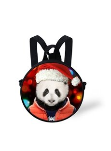 Round 3D Panda Christmas Pattern School Bag Shoulders Backpack