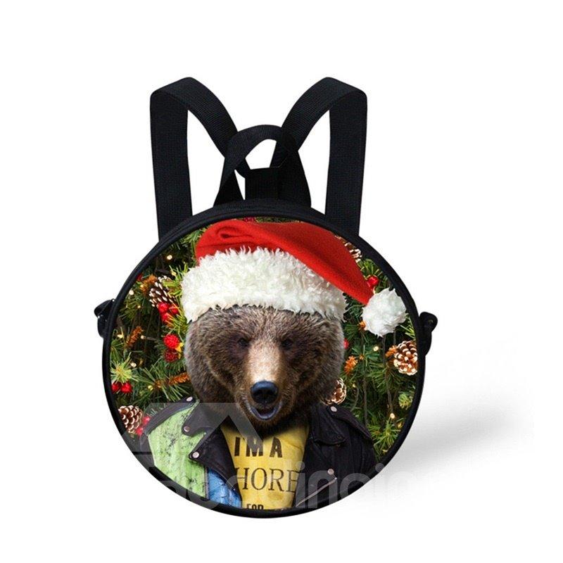 Round 3D Bear Christmas Pattern School Bag Shoulders Backpack