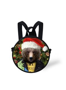 Round 3D Bear Christmas Pattern School Bag Shoulders Backpack