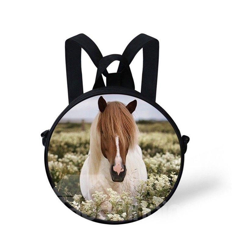 Round 3D Horse Long Hair Pattern School Bag Shoulders Backpack