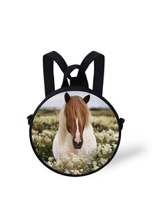Round 3D Horse Long Hair Pattern School Bag Shoulders Backpack