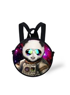 Round 3D Panda with Glasses Pattern School Bag Shoulders Backpack