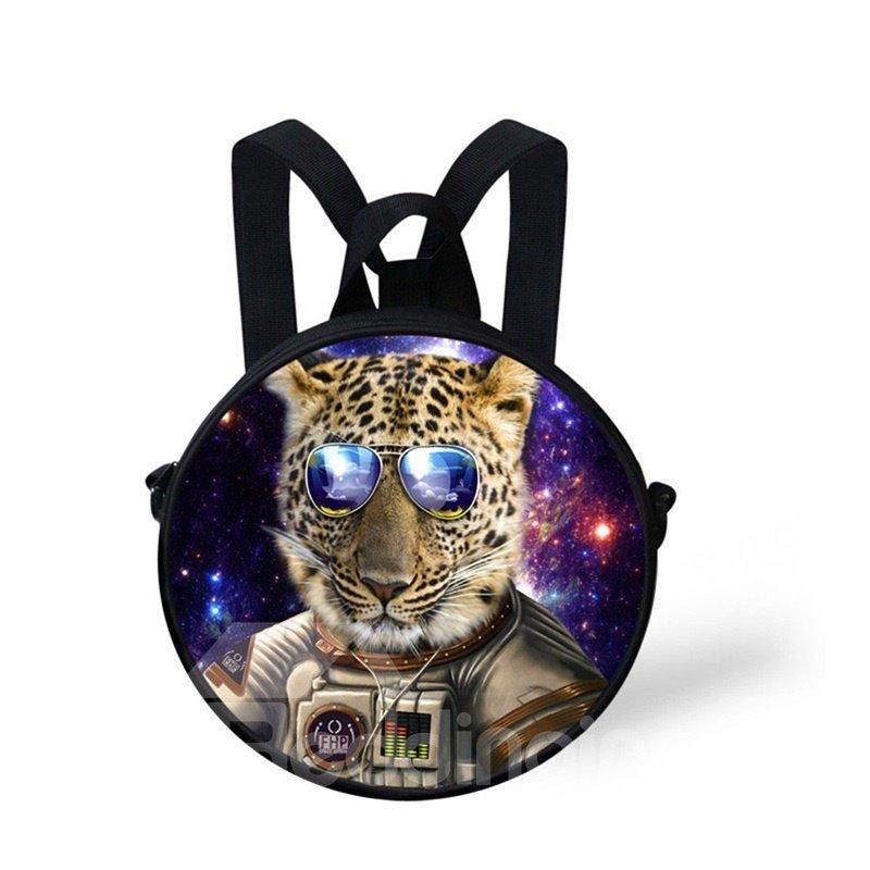 Round 3D Leopard with Glasses Pattern School Bag Shoulders Backpack