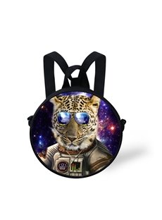 Round 3D Leopard with Glasses Pattern School Bag Shoulders Backpack