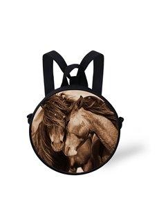 Couple Horse Pattern School Bag Shoulders Backpack
