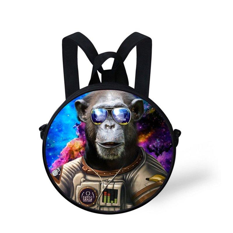 Round 3D Pattern Orangutan School Bag Shoulders Backpack