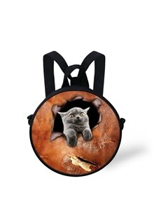 Round 3D Blue Cat Pattern School Bag Shoulders Backpack