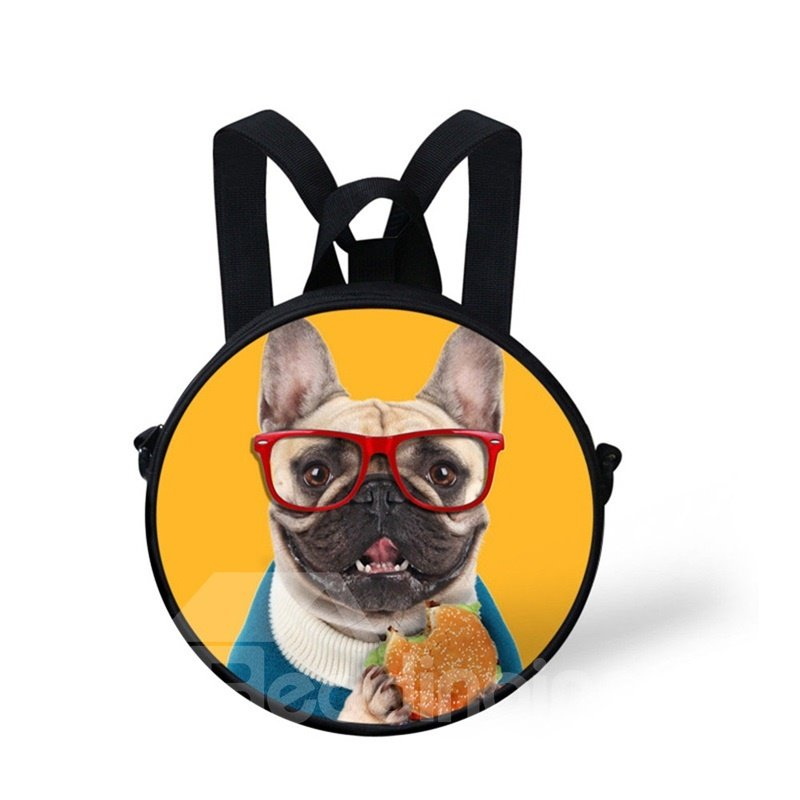Round 3D Dog with Glasses Pattern School Bag Shoulders Backpack