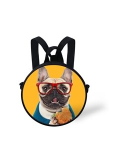 Round 3D Dog with Glasses Pattern School Bag Shoulders Backpack