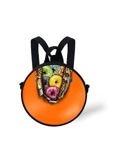 Round Colorful Fruit 3D Pattern School Bag Shoulders Backpack