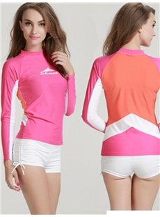 Pink Summer Beach Long Sleeve Two Peice Women Wetsuit