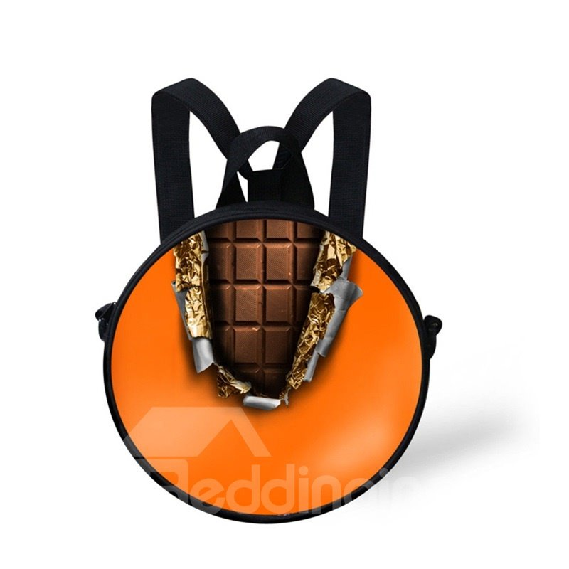 Round 3D Chocolate Colorful Pattern School Bag Shoulders Backpack