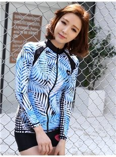 Blue Leaves Pattern Long Sleeve Summer Women Wetsuit