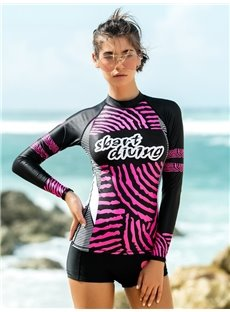 Pink Line Pattern Long Sleeve Summer Women Wetsuit