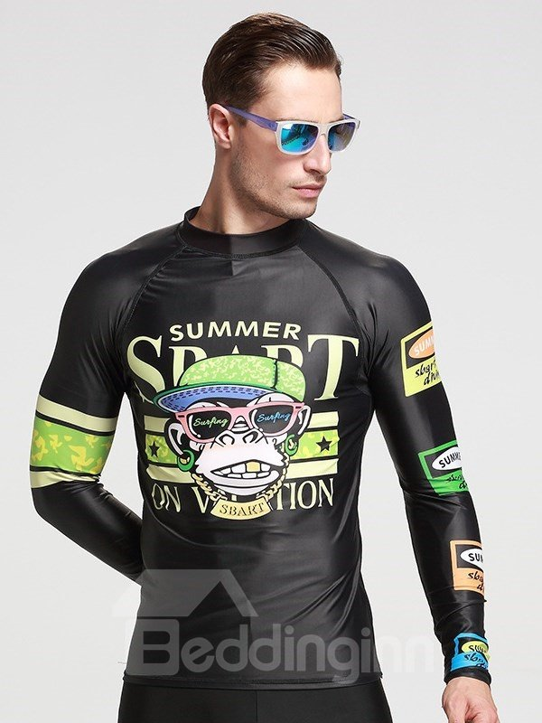 Super-stretch Armpit Monkey Pattern Long Sleeve Couple for Men Wetsuit