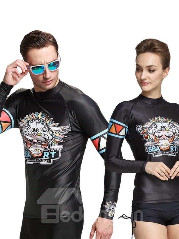 UV-Protection Long Sleeve Cool Monkey Pattern Diving Suit Couple for Men