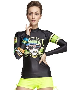 Super-stretch Armpit Monkey Pattern Long Sleeve Couple for Women Wetsuit