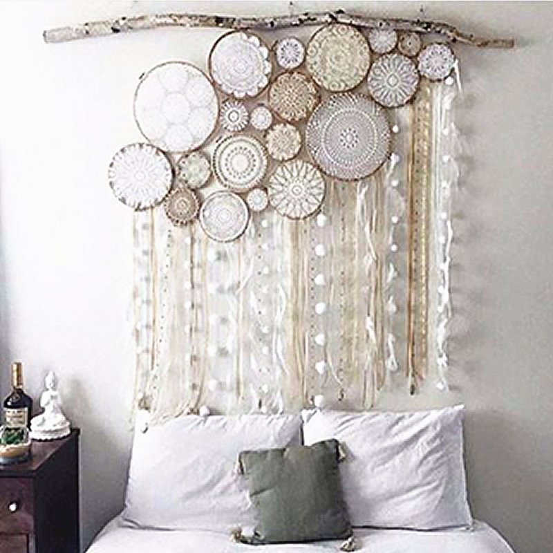 White Pink Handmade Dream-catcher with Tassels Bohemian Style Wall Decor