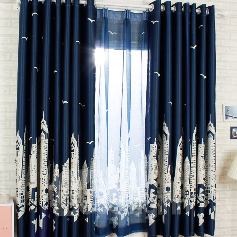 Dust-Proof and Blackout Polyester Cotton City Buildings Scenery Modern Style 2 Panels Sheer Curtain