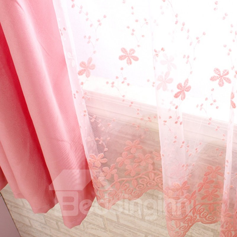 Decorative and Dust-Proof Pink Color with Lace Princess Style 2 Panels Sheer Curtain