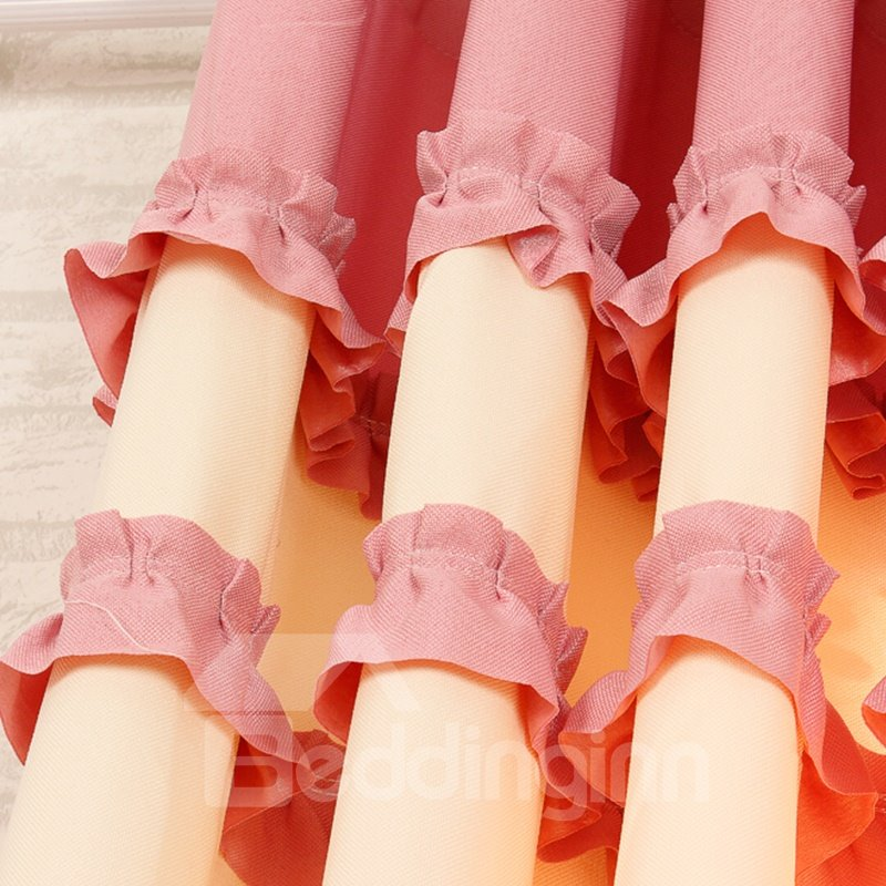 Decorative Polyester Cotton Pink Color Lace Border Romantic Style Grommet Top Curtain