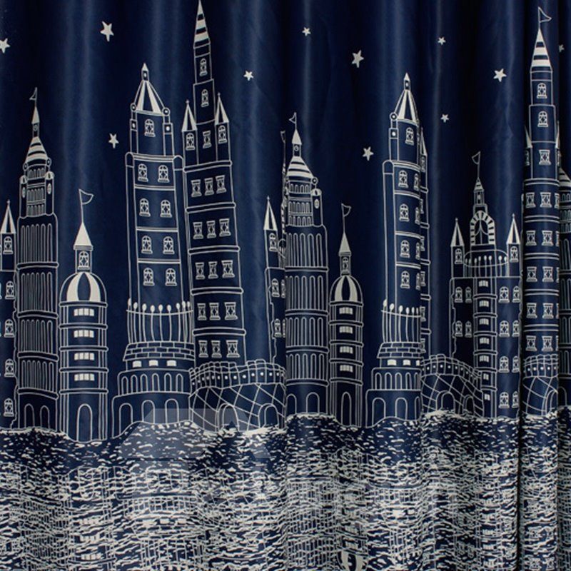 Dust-Proof and Blackout Polyester Cotton City Buildings Printing Modern Style 2 Panels Curtain