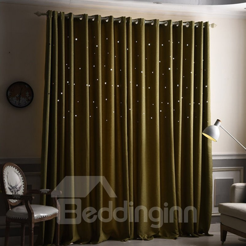 Decorative and Blackout Thick Polyester Hollowing Stars Romantic Style 2 Panels Curtain