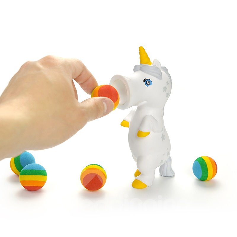 Unicorn Release Pressure White with Six Colorful Ball Plastic Shells toys