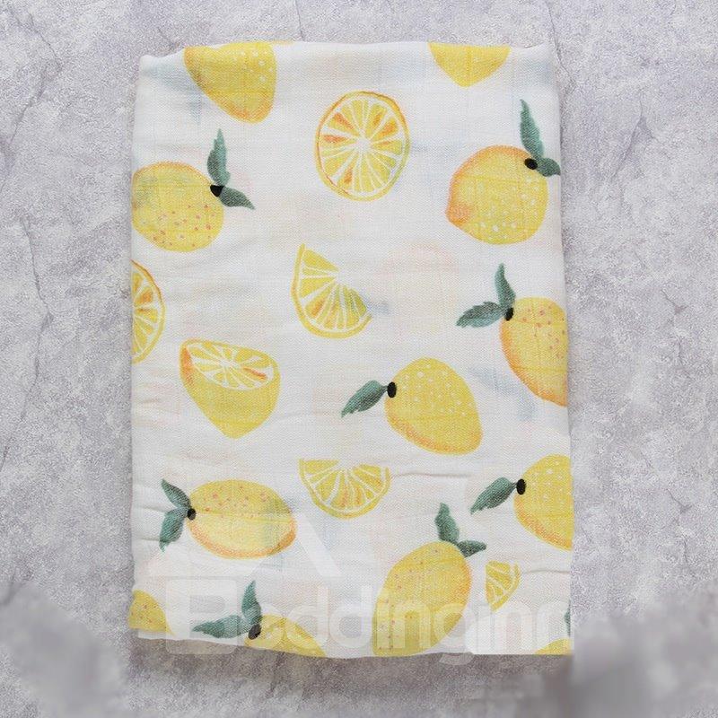 Lemons Printed Bamboo Fiber 2-Layer White Baby Swaddle Blanket