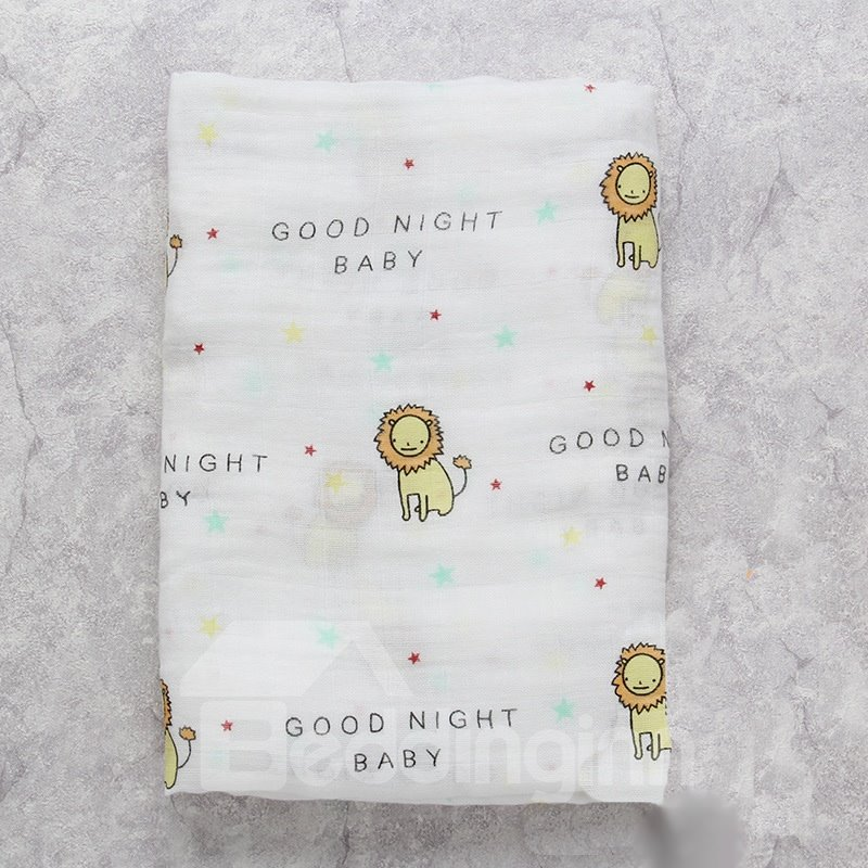 Little Lions Printed Bamboo Fiber 2-Layer White Baby Swaddle Blanket
