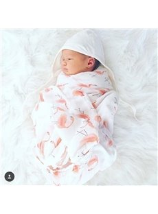 Flamingos Printed Bamboo Fiber 2-Layer White Baby Swaddle Blanket