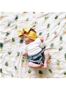 Pineapples Printed Bamboo Fiber 2-Layer White Baby Swaddle Blanket