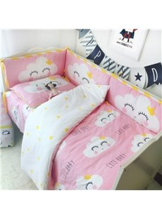 Clouds With Smiling Faces Printed 3-Piece Crib Bedding Sets