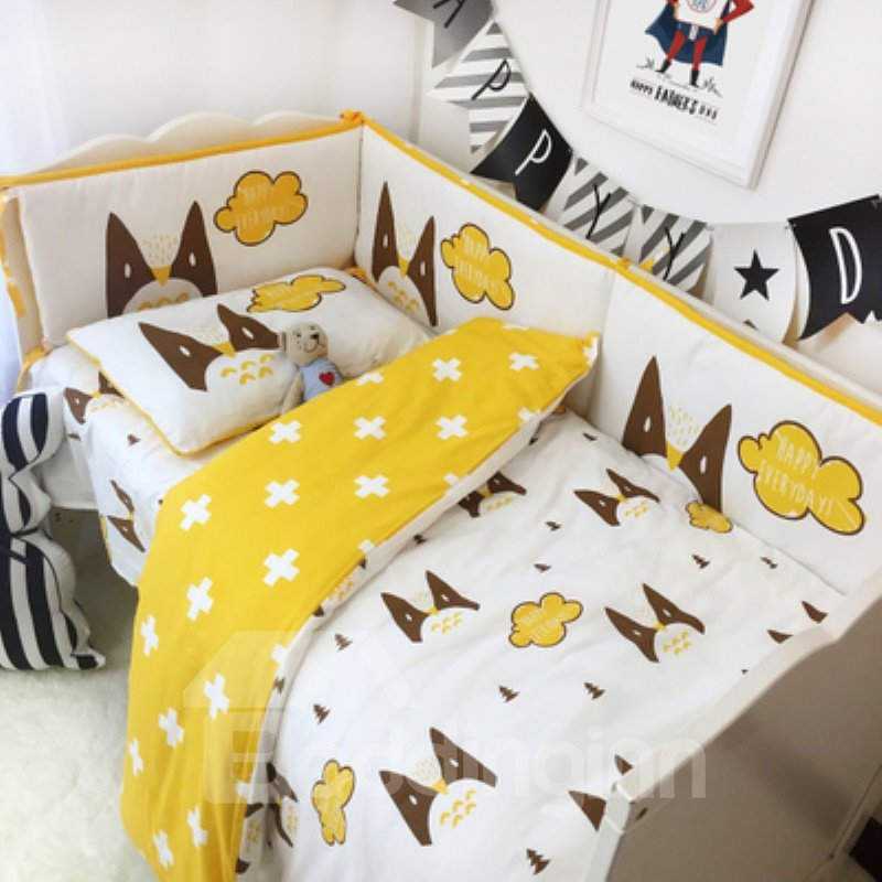 Cats and Clouds Printed 3-Piece Crib Bedding Sets
