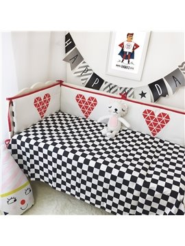 Swallow Grid Printed Cotton Classic Style White and Black Crib Sheet