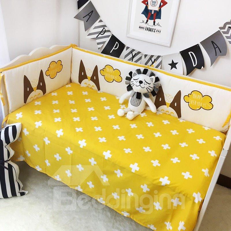 White Crosses Printed Cotton Classic Style Yellow Crib Sheet